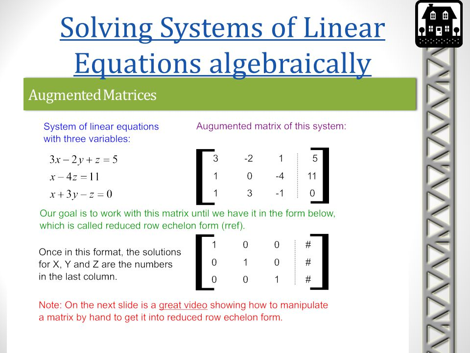 Augmented Matrices Solving Systems of Linear Equations algebraically