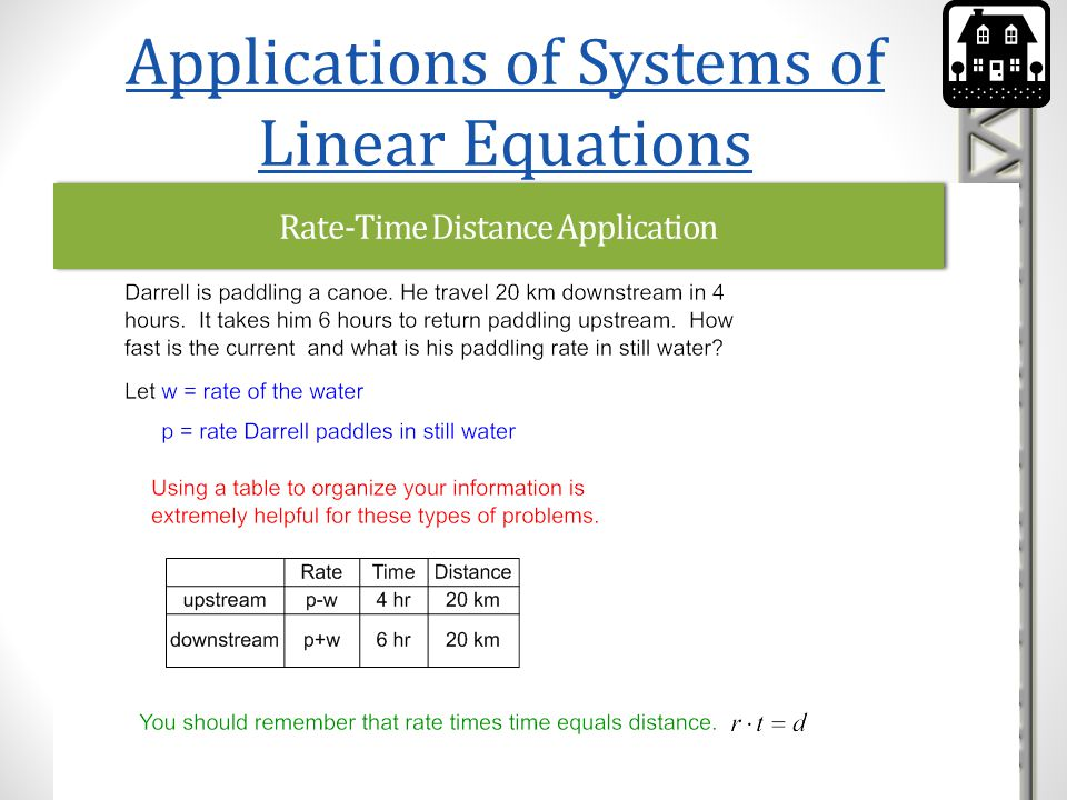Rate-Time Distance Application Applications of Systems of Linear Equations