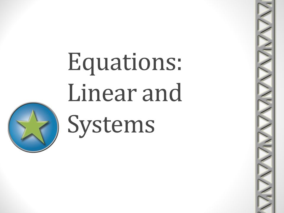 Matrix Equations Solving Systems of Linear Equations algebraically Next multiply this matrix by the 3 by 1 variable matrix and set this matrix equation equal to the 3 by 1 matrix created from the constants in the original equations.