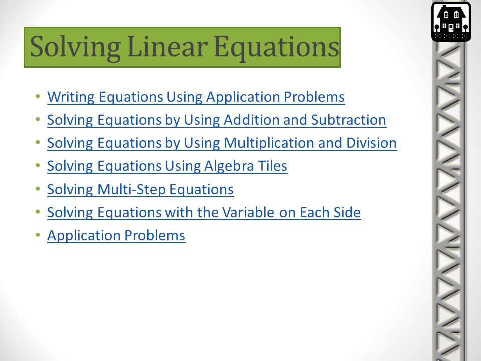 Substitution Method The concept of solving systems of linear equations using substitution is this: 1.Take one of the equations and isolate one of the variables on one side of the equation (Get a variable by itself on one side of the equals sign).