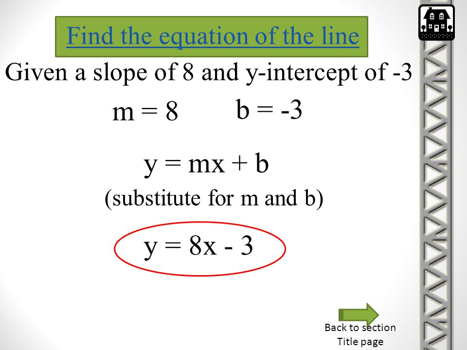 Back to section Title page Find the equation of the line Given a slope of 8 and y-intercept of -3 m = 8 b = -3 y = mx + b (substitute for m and b) y =