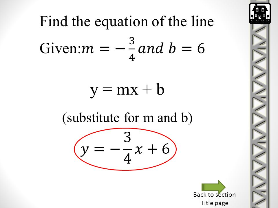 Back to section Title page Find the equation of the line y = mx + b (substitute for m and b)