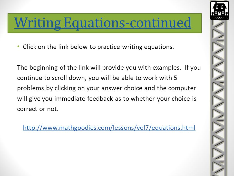 Click this link for a worksheet of solving systems of linear equations graphically.
