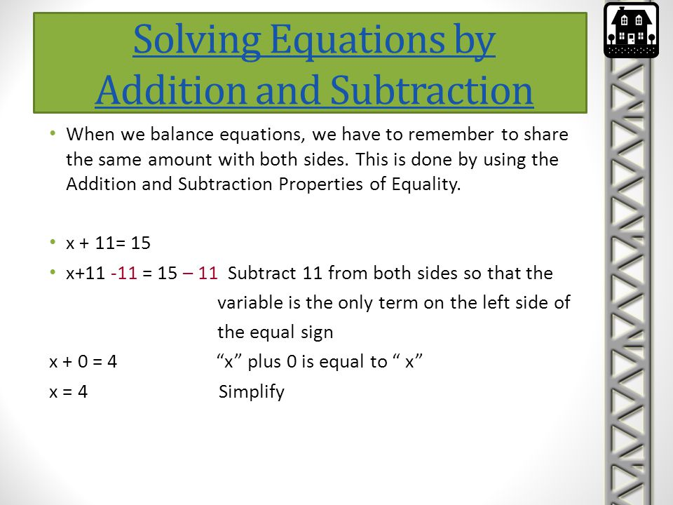 Solving Equations by Addition and Subtraction-continued To practice solving equations using addition and subtraction problems, open the below link.