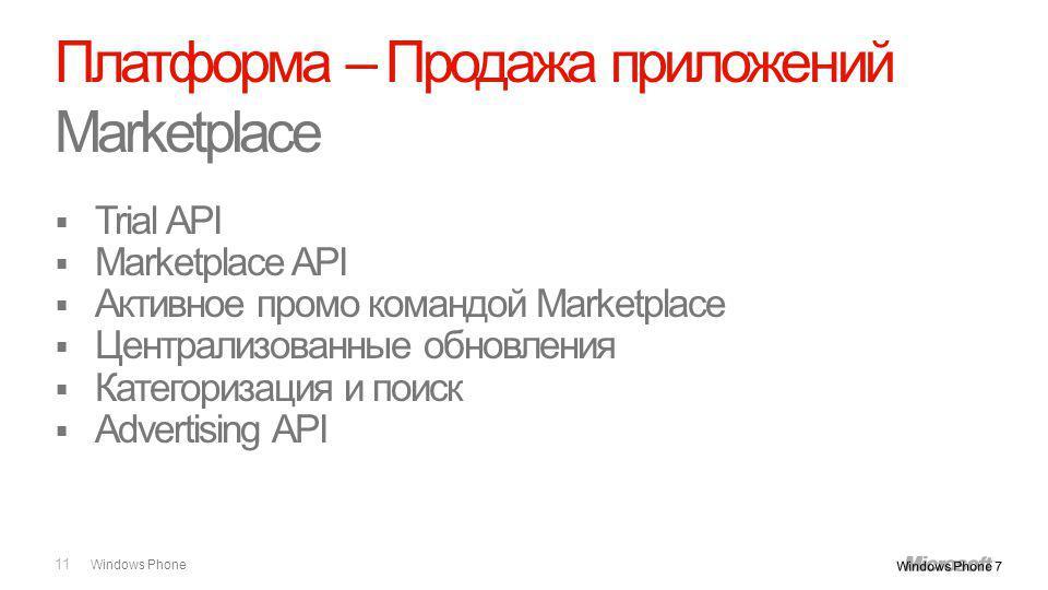 Windows Phone Trial API Marketplace API Активное промо командой Marketplace Централизованные обновления Категоризация и поиск Advertising API 11