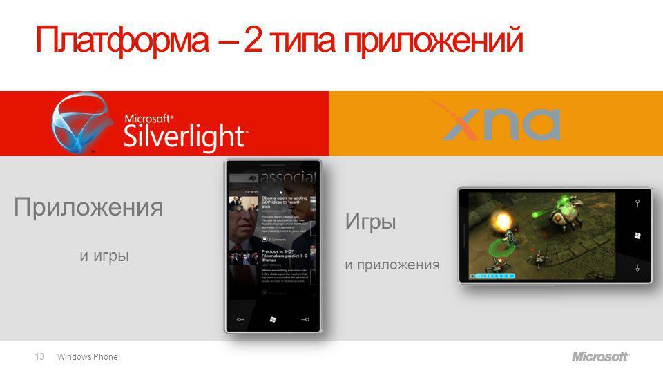 Windows Phone Платформа – 2 типа приложений Игры и приложения Приложения и игры 13