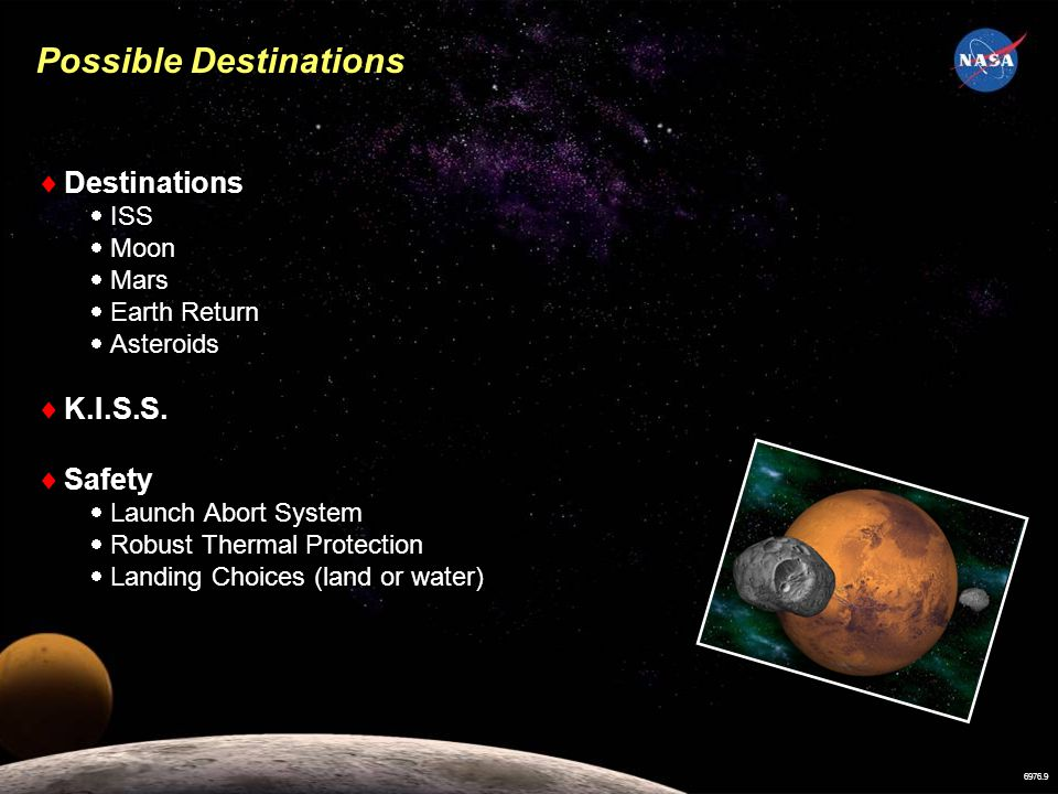 6976.9 Destinations ISS Moon Mars Earth Return Asteroids K.I.S.S.