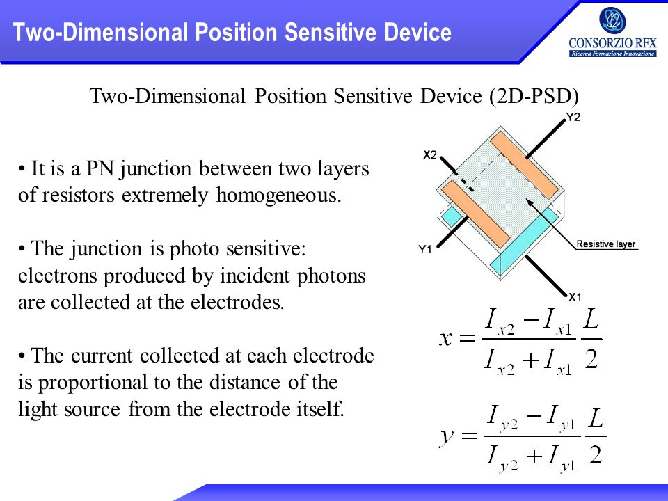 Two-Dimensional Position Sensitive Device Two-Dimensional Position Sensitive Device (2D-PSD) It is a PN junction between two layers of resistors extremely homogeneous.