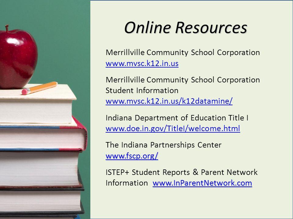 Online Resources Merrillville Community School Corporation www.mvsc.k12.in.us www.mvsc.k12.in.us www.fscp.org/ www.InParentNetwork.com www.fscp.org/ w