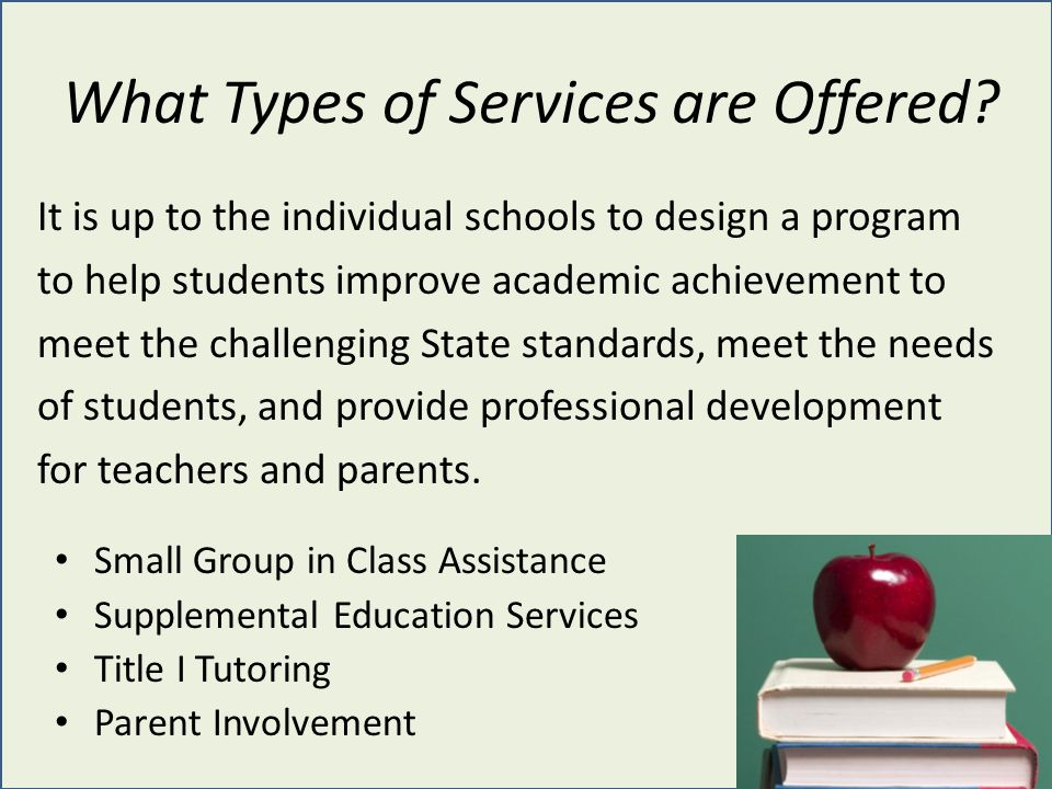 What Types of Services are Offered? It is up to the individual schools to design a program to help students improve academic achievement to meet the c