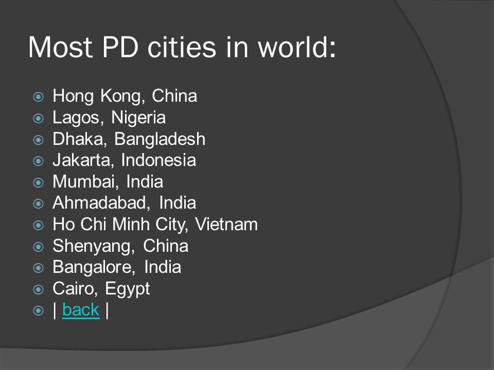 Most PD cities in world: Hong Kong, China Lagos, Nigeria Dhaka, Bangladesh Jakarta, Indonesia Mumbai, India Ahmadabad, India Ho Chi Minh City, Vietnam