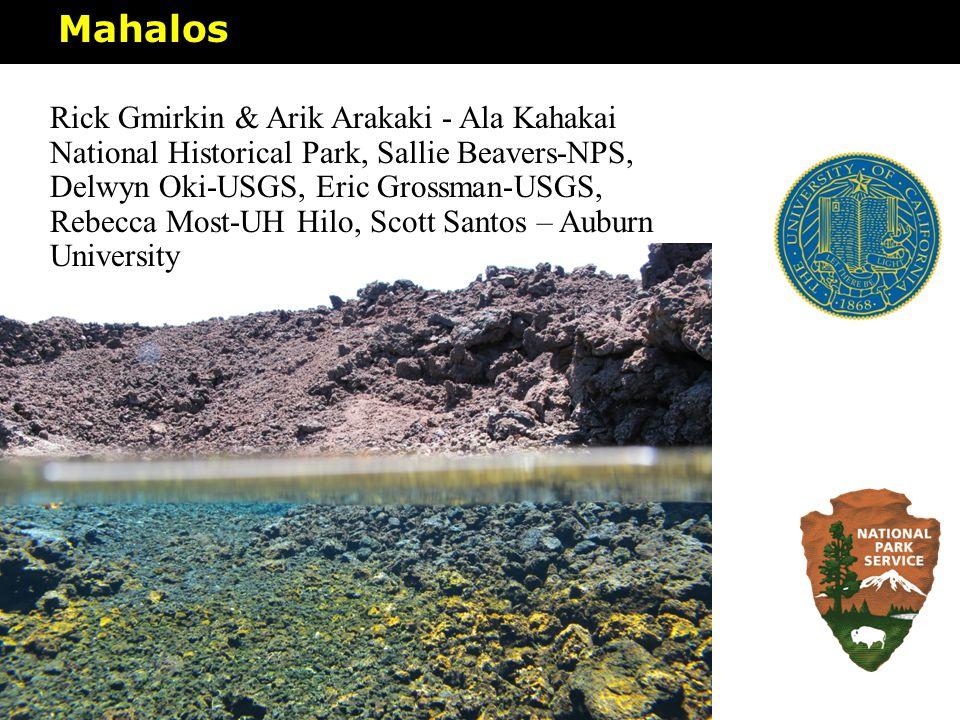 Mahalos Rick Gmirkin & Arik Arakaki - Ala Kahakai National Historical Park, Sallie Beavers-NPS, Delwyn Oki-USGS, Eric Grossman-USGS, Rebecca Most-UH H