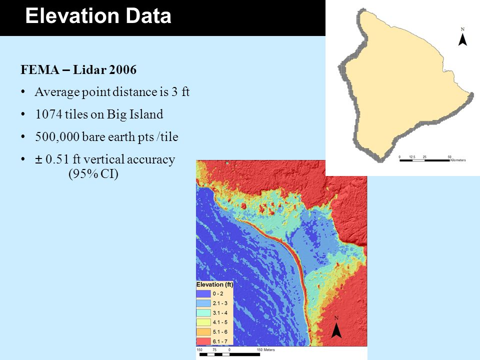 DATA FEMA – Lidar 2006 Average point distance is 3 ft 1074 tiles on Big Island 500,000 bare earth pts /tile ± 0.51 ft vertical accuracy (95% CI) Elevation Data
