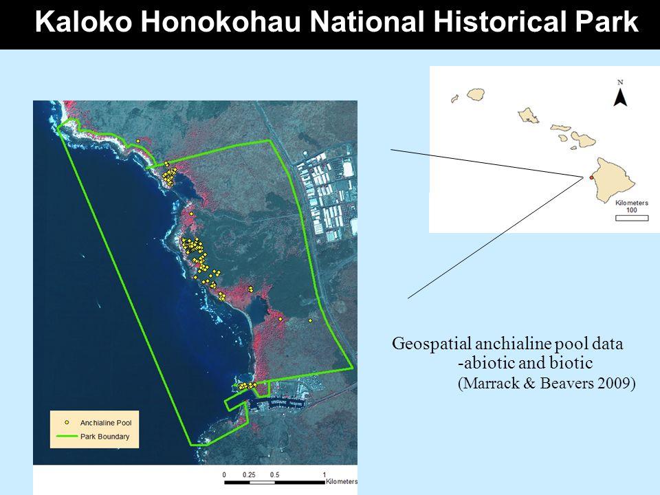 Kaloko Honokohau National Historical Park Geospatial anchialine pool data -abiotic and biotic (Marrack & Beavers 2009)