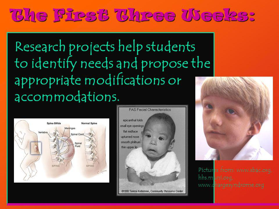 The First Three Weeks: Research projects help students to identify needs and propose the appropriate modifications or accommodations.