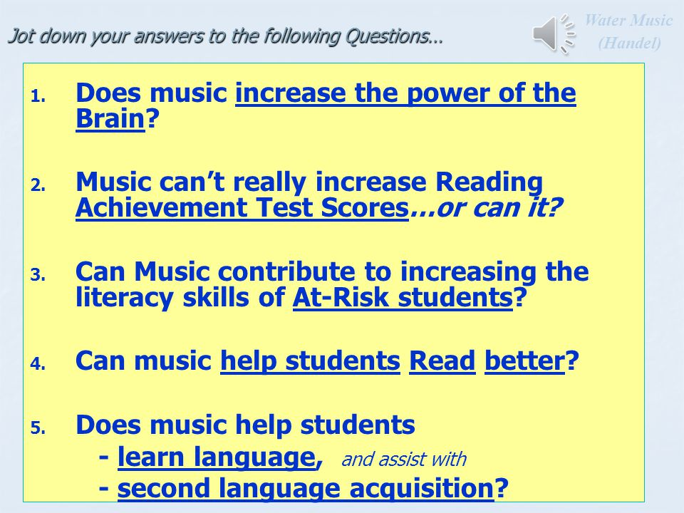 Research with Rhythm Training … 1.Students with ADHD given rhythm training improve in Focus and in - Math - Language - Spelling - Reading (Shaffer et al., 2001) 2.