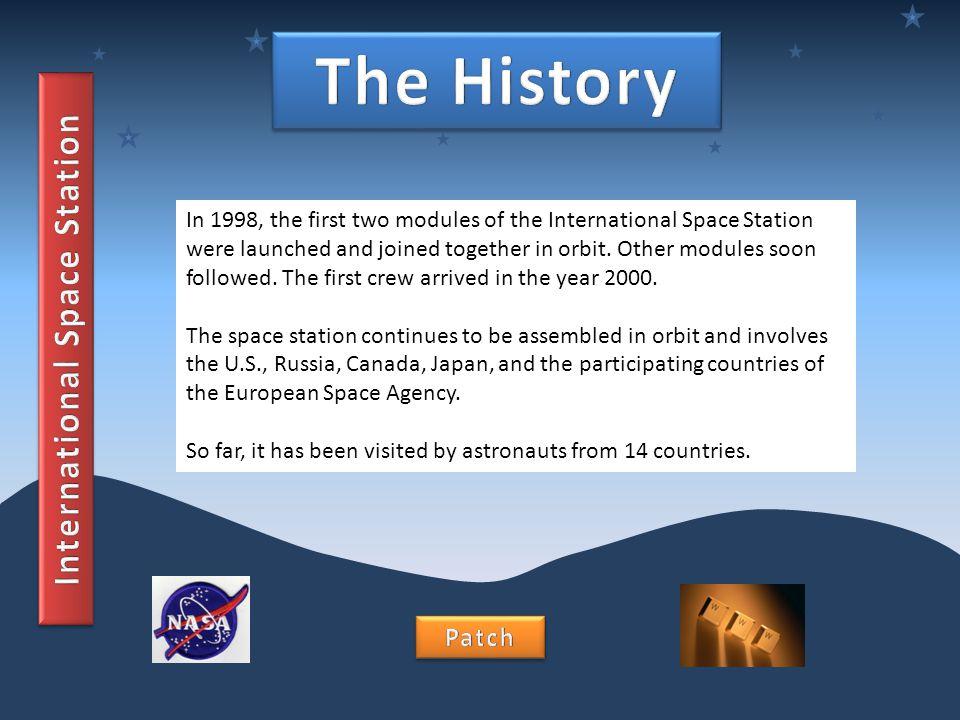 In 1998, the first two modules of the International Space Station were launched and joined together in orbit. Other modules soon followed. The first c