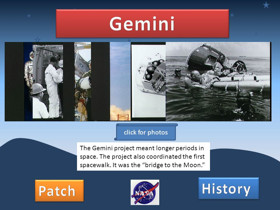 The Gemini project meant longer periods in space. The project also coordinated the first spacewalk.