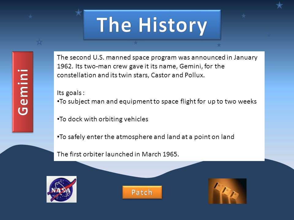 The second U.S. manned space program was announced in January 1962. Its two-man crew gave it its name, Gemini, for the constellation and its twin star