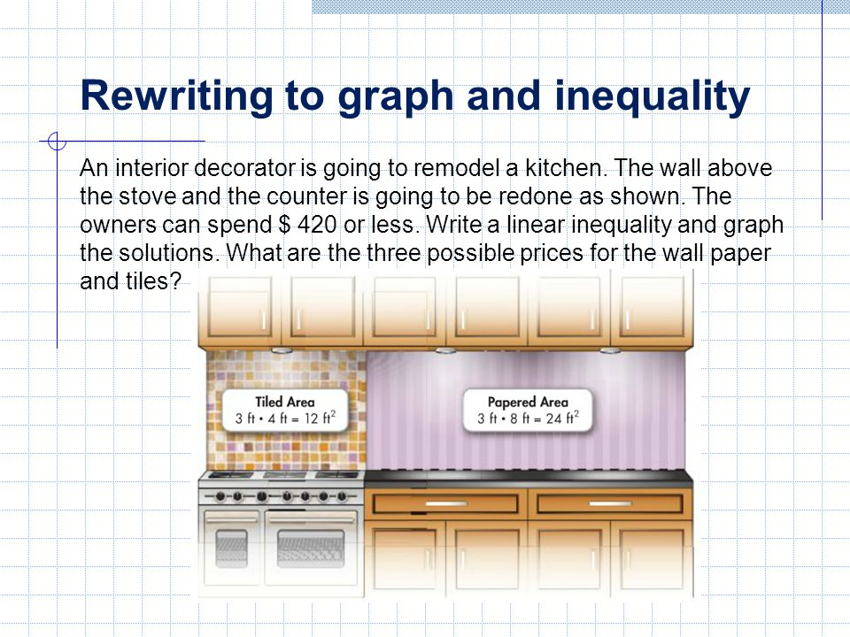 Rewriting to graph and inequality An interior decorator is going to remodel a kitchen.