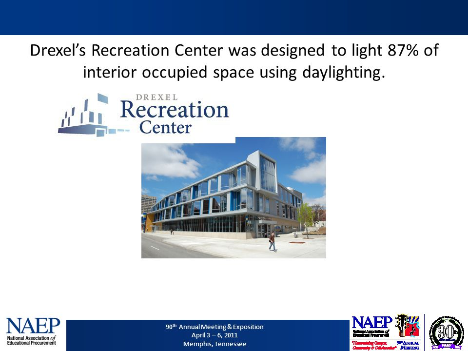 90 th Annual Meeting & Exposition April 3 – 6, 2011 Memphis, Tennessee Drexels Recreation Center was designed to light 87% of interior occupied space