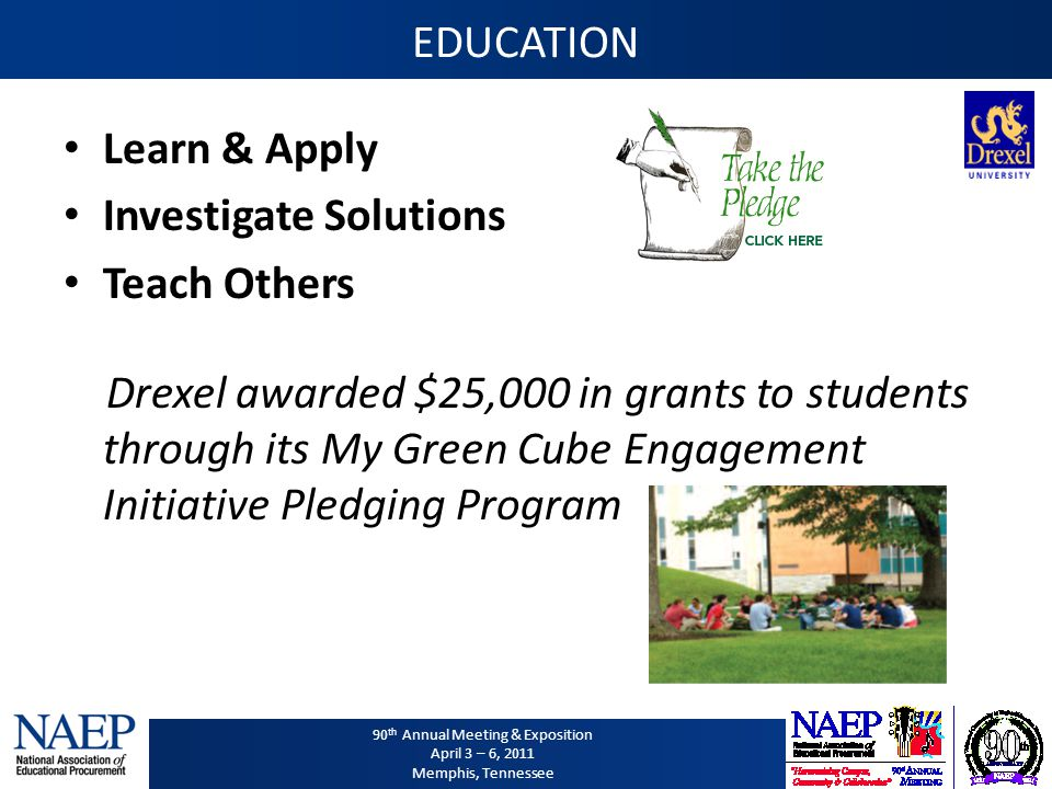 90 th Annual Meeting & Exposition April 3 – 6, 2011 Memphis, Tennessee EDUCATION Learn & Apply Investigate Solutions Teach Others Drexel awarded $25,0