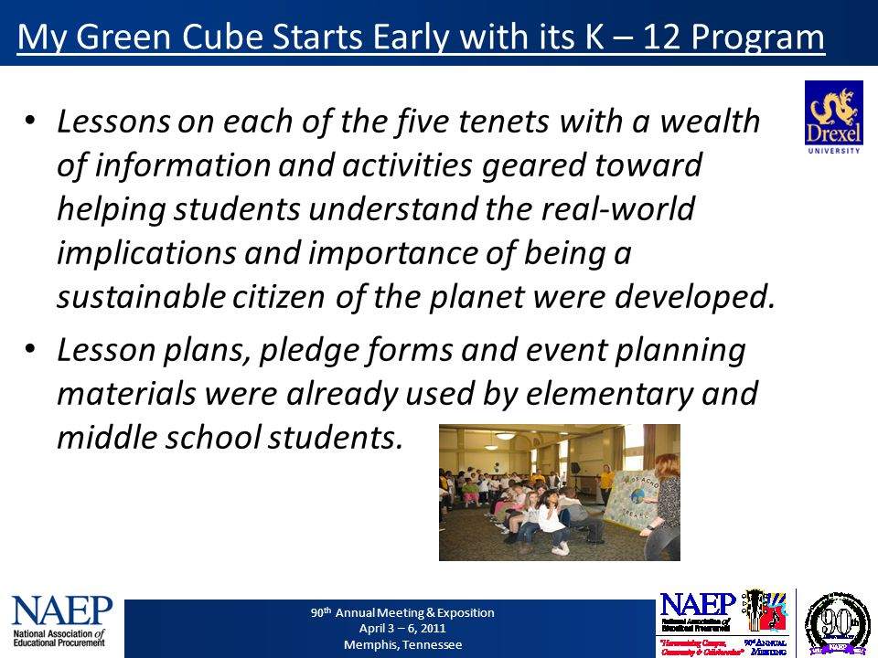 90 th Annual Meeting & Exposition April 3 – 6, 2011 Memphis, Tennessee My Green Cube Starts Early with its K – 12 Program Lessons on each of the five