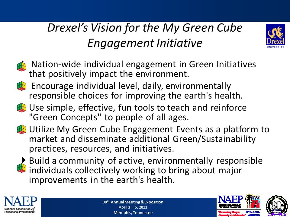 90 th Annual Meeting & Exposition April 3 – 6, 2011 Memphis, Tennessee Drexels Vision for the My Green Cube Engagement Initiative Nation-wide individu