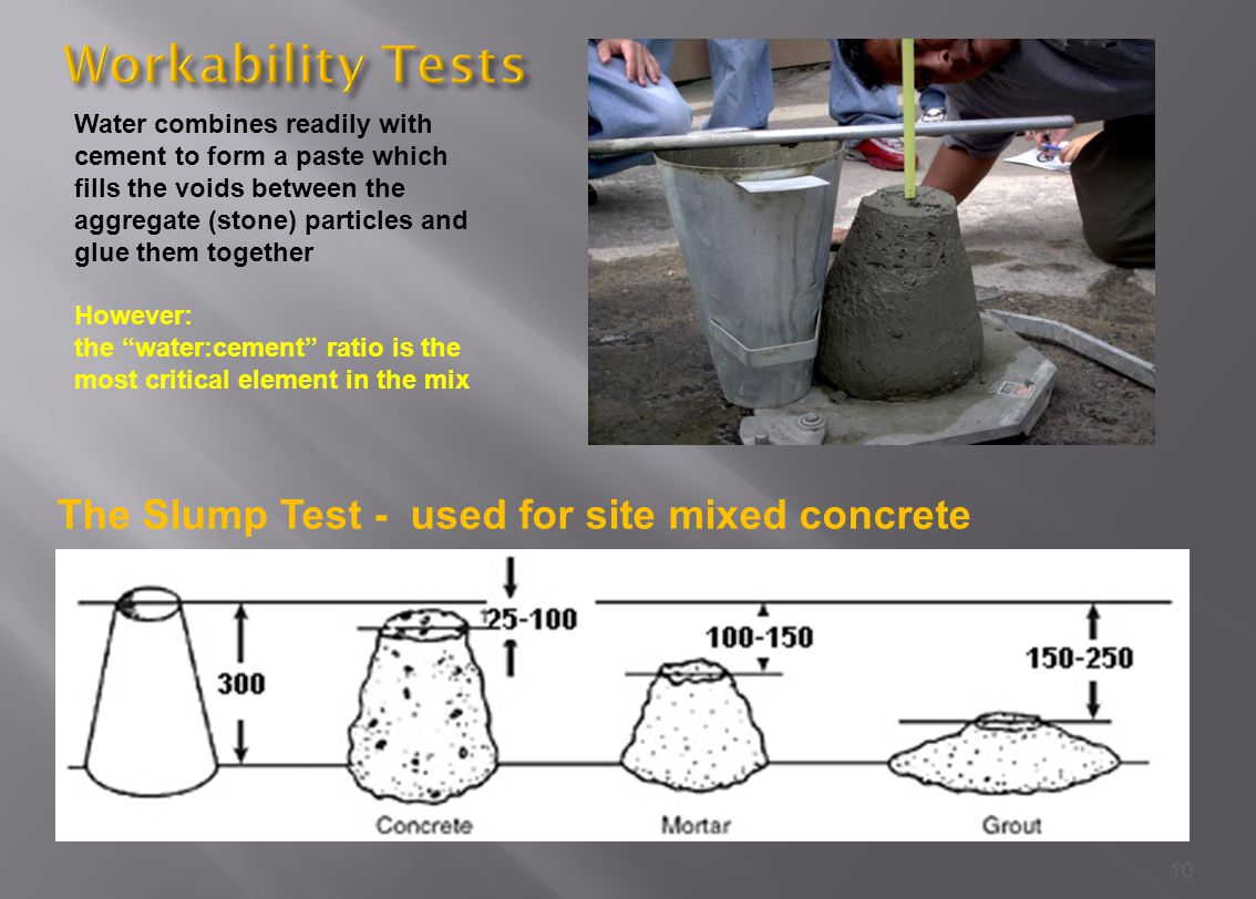 10 The Slump Test - used for site mixed concrete Water combines readily with cement to form a paste which fills the voids between the aggregate (stone) particles and glue them together However: the water:cement ratio is the most critical element in the mix