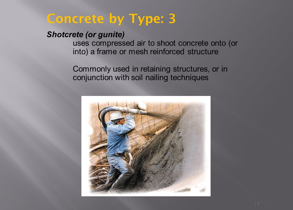 19 Shotcrete (or gunite) uses compressed air to shoot concrete onto (or into) a frame or mesh reinforced structure Commonly used in retaining structures, or in conjunction with soil nailing techniques Concrete by Type: 3
