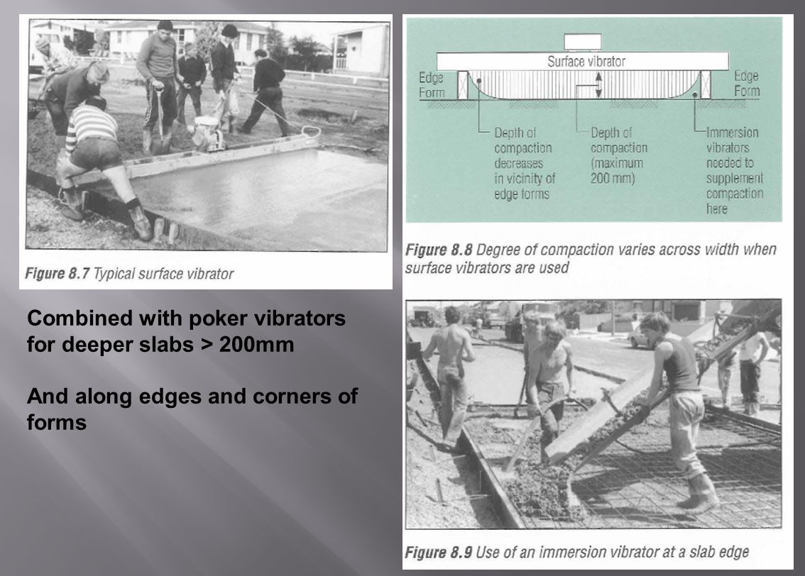 45 Combined with poker vibrators for deeper slabs > 200mm And along edges and corners of forms