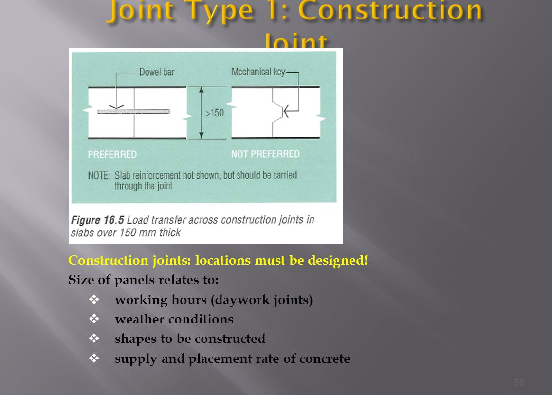 Construction joints: locations must be designed.