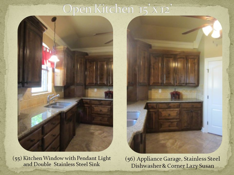 (55) Kitchen Window with Pendant Light and Double Stainless Steel Sink (56) Appliance Garage, Stainless Steel Dishwasher & Corner Lazy Susan