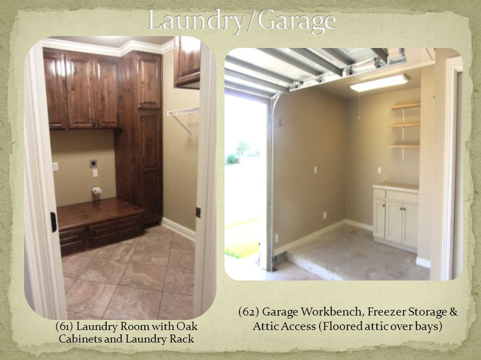 (61) Laundry Room with Oak Cabinets and Laundry Rack