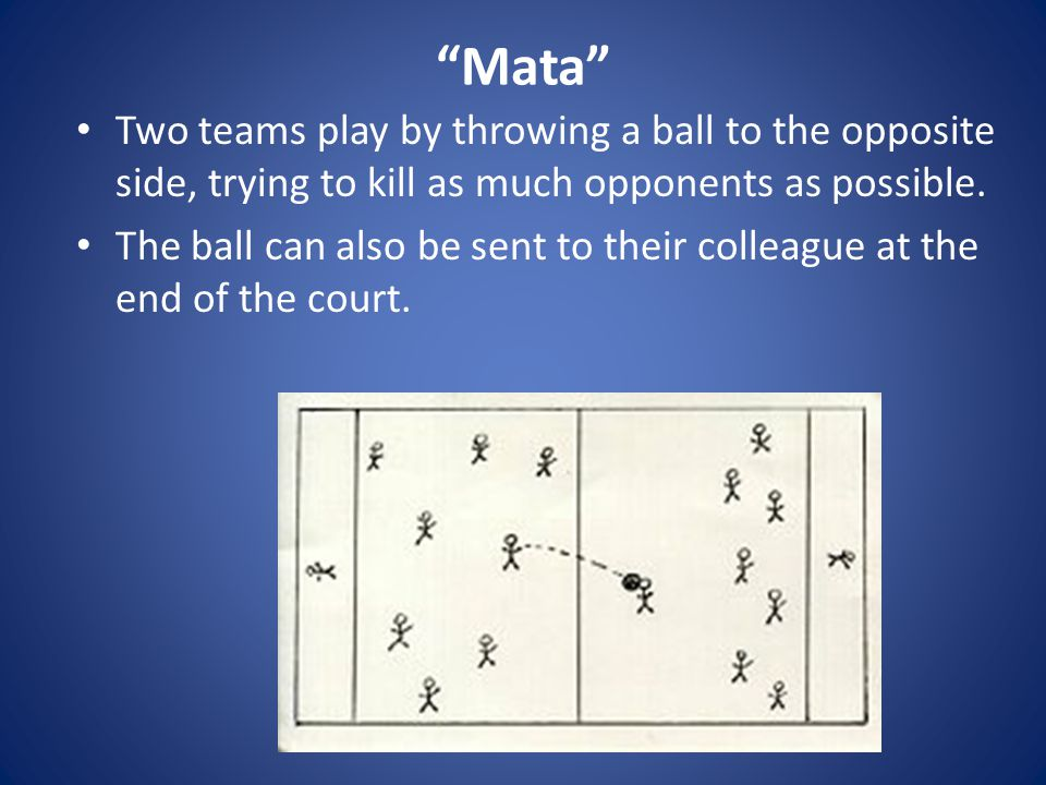 Mata Two teams play by throwing a ball to the opposite side, trying to kill as much opponents as possible.