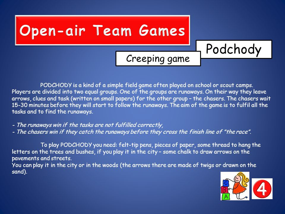 PODCHODY is a kind of a simple field game often played on school or scout camps.