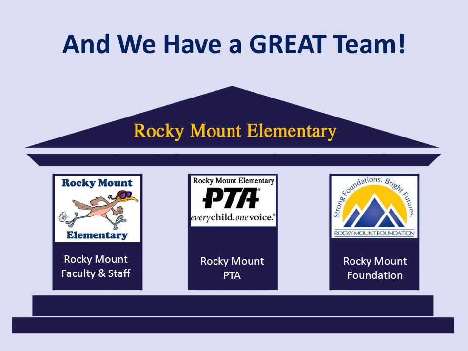 And We Have a GREAT Team! Rocky Mount Faculty & Staff Rocky Mount PTA Rocky Mount Foundation