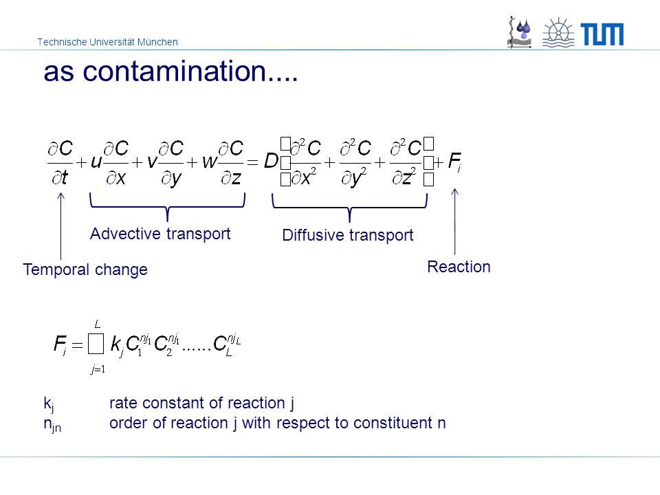 Technische Universität München as contamination.... Temporal change Advective transport Diffusive transport Reaction k j rate constant of reaction j n