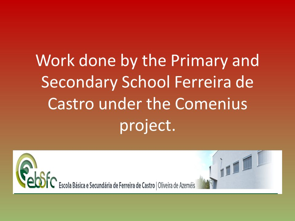 Work done by the Primary and Secondary School Ferreira de Castro under the Comenius project.