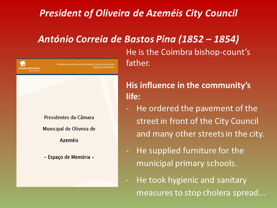 President of Oliveira de Azeméis City Council António Correia de Bastos Pina (1852 – 1854) He is the Coimbra bishop-counts father.