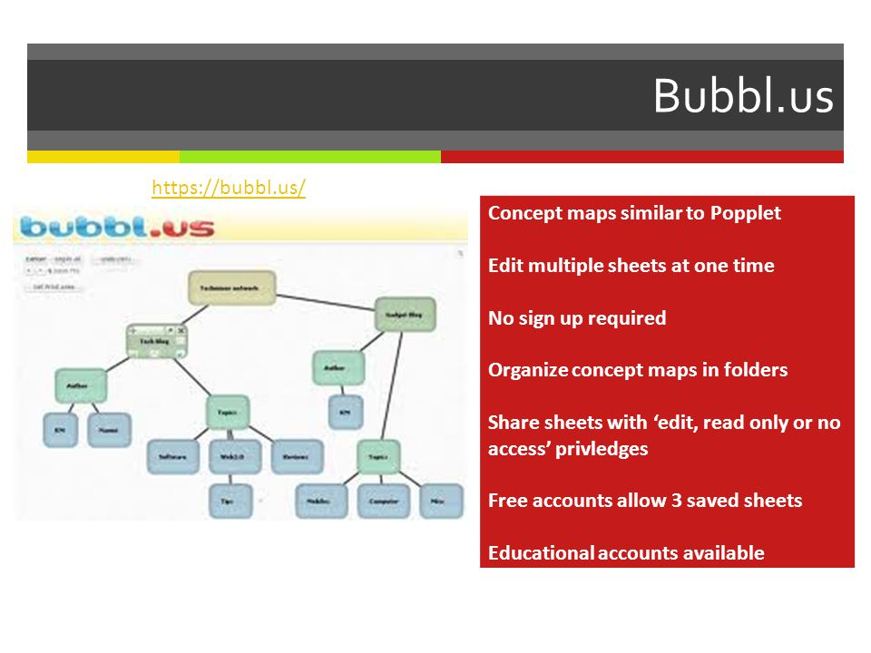 Bubbl.us Concept maps similar to Popplet Edit multiple sheets at one time No sign up required Organize concept maps in folders Share sheets with edit, read only or no access privledges Free accounts allow 3 saved sheets Educational accounts available https://bubbl.us/