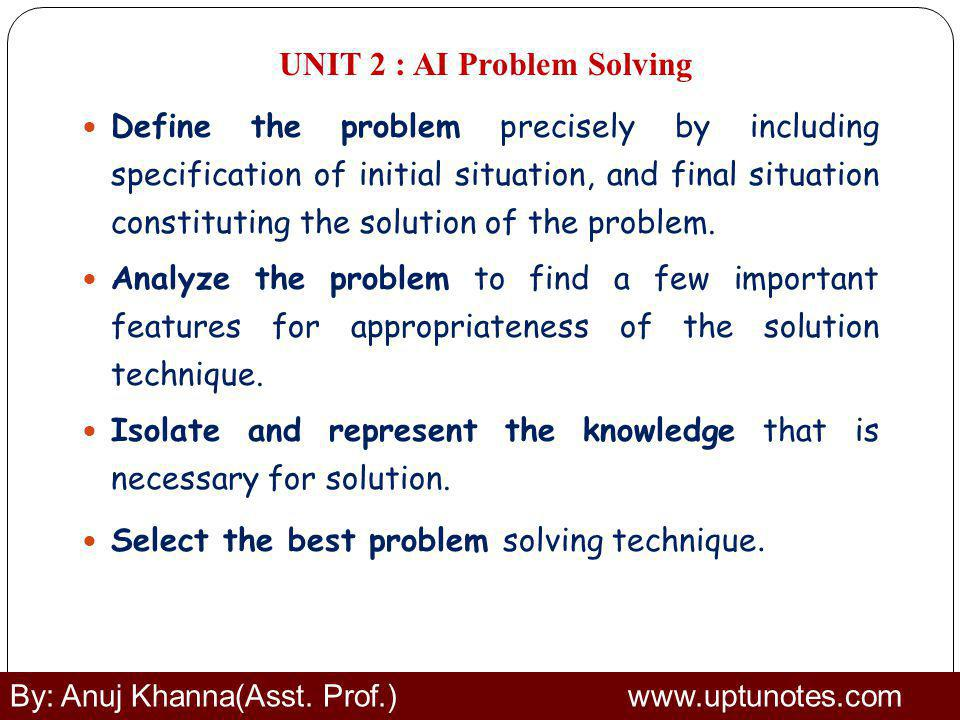 UNIT 2 : AI Problem Solving Define the problem precisely by including specification of initial situation, and final situation constituting the solution of the problem.