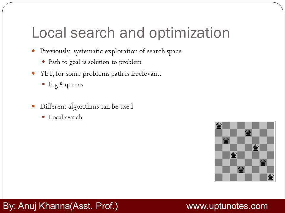 Local search and optimization Previously: systematic exploration of search space.