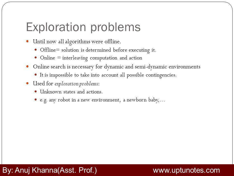 Exploration problems Until now all algorithms were offline.