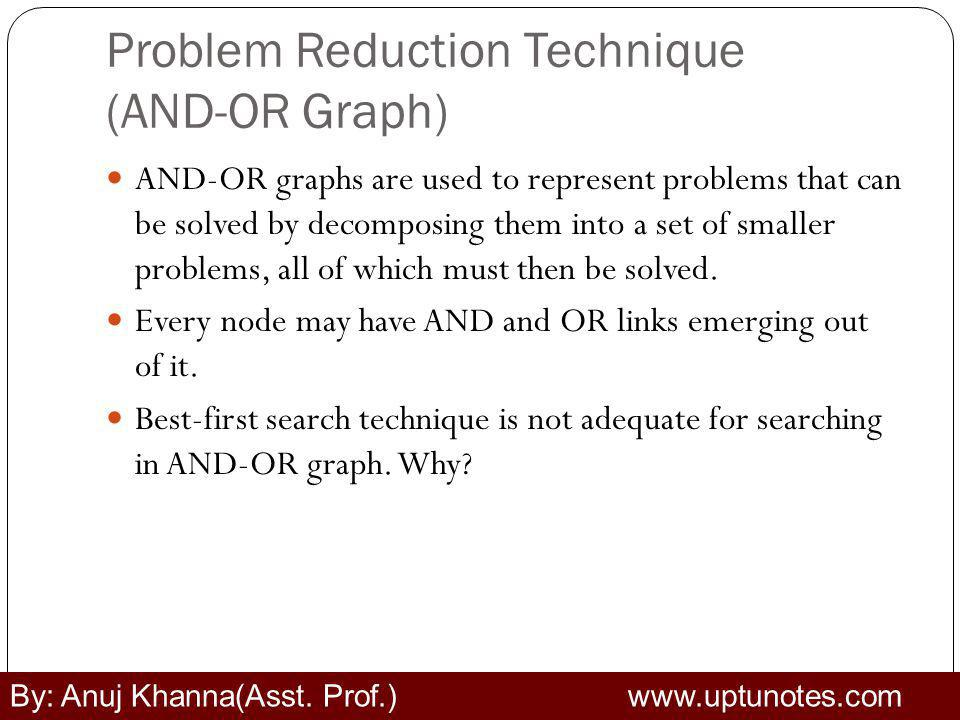 Problem Reduction Technique (AND-OR Graph) AND-OR graphs are used to represent problems that can be solved by decomposing them into a set of smaller problems, all of which must then be solved.