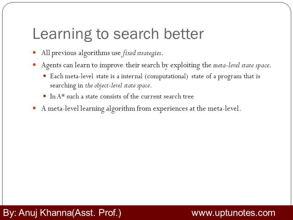 Learning to search better All previous algorithms use fixed strategies.