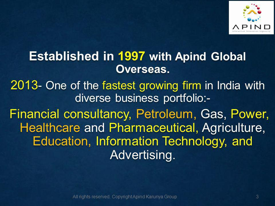 All rights reserved, Copyright Apind Karunya Group Business Competitiveness Business Competitiveness 4