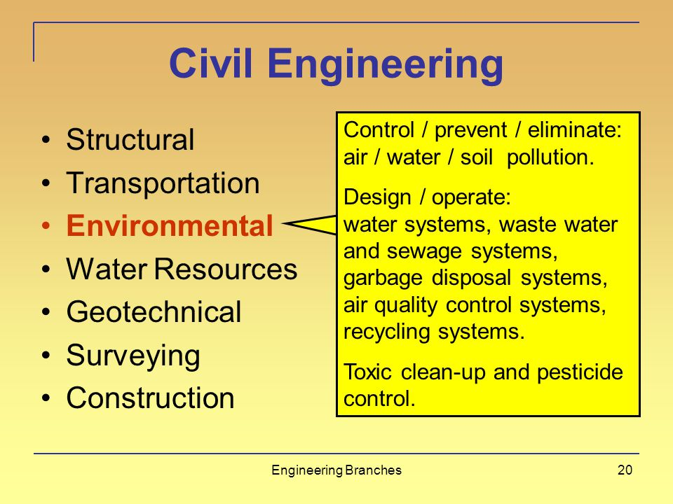 Engineering Branches19 Civil Engineering Structural Transportation Environmental Water Resources Geotechnical Surveying Construction Safe efficient mo