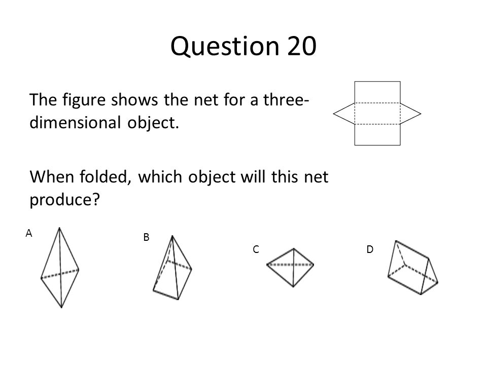 Question 20 The figure shows the net for a three- dimensional object. When folded, which object will this net produce?. A B CD