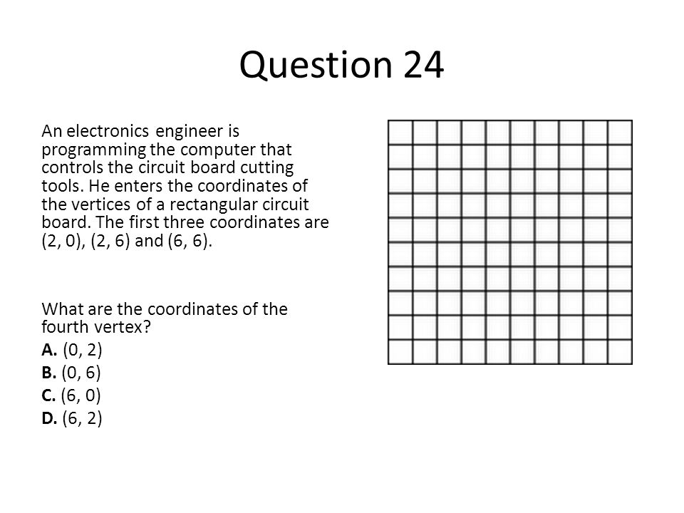 Question 24 An electronics engineer is programming the computer that controls the circuit board cutting tools. He enters the coordinates of the vertic